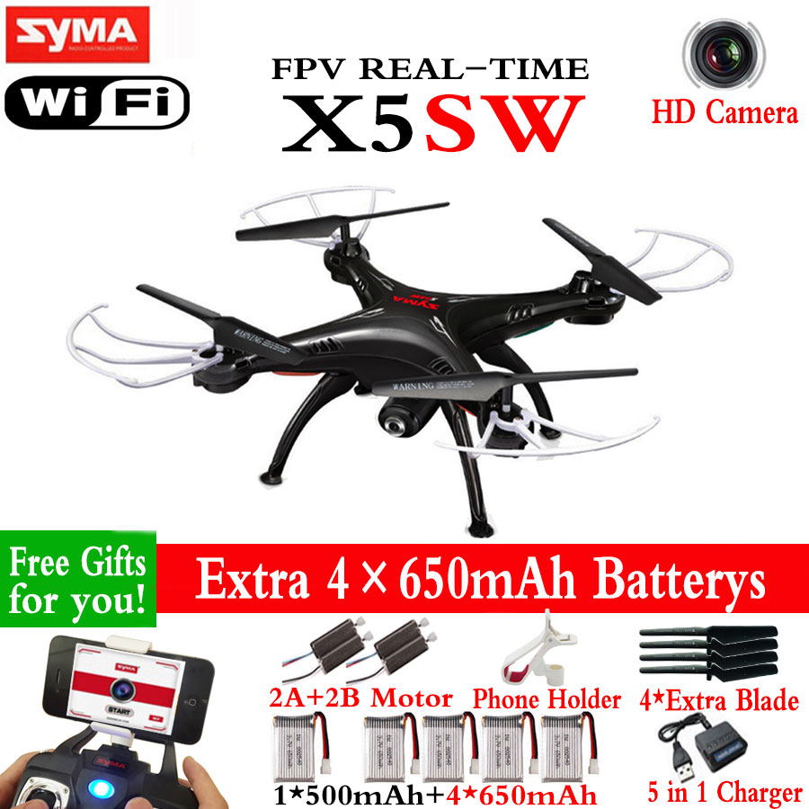 Super Hot Syma x5sw (Black and White) 2.4G 4CH 6-Axis 2MP WIFI aerial RC Helicopter Quadcopter Toys Drone and x5sw-1 pk syma x5c