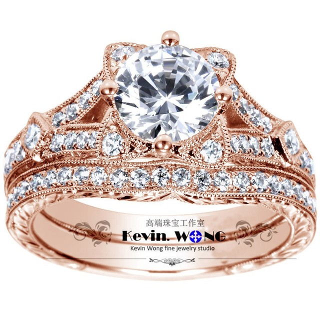 Wedding Set Lovely Cat Design 1 Carat Moissanit Lab Grown Diamond Ring Genuine Solid 10k Gold