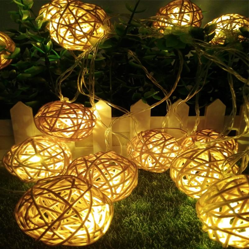5m 20 Rattan Ball Led drita të lehta të Krishtlindjeve 220V 110V festë kopsht varëse kopshtesh Garland Dekoratë e dasmës zanash festë parti