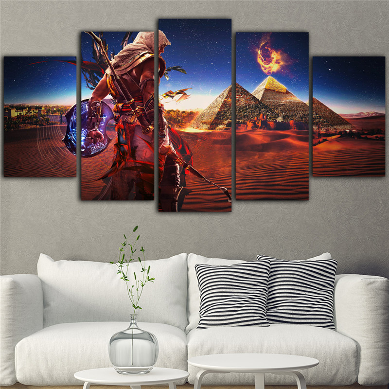 5Pieces Movie Poster Canvas Wall Art Assassins Creed Painting Abstract Art Picture Game Posters Prints Quadros Decoracao image