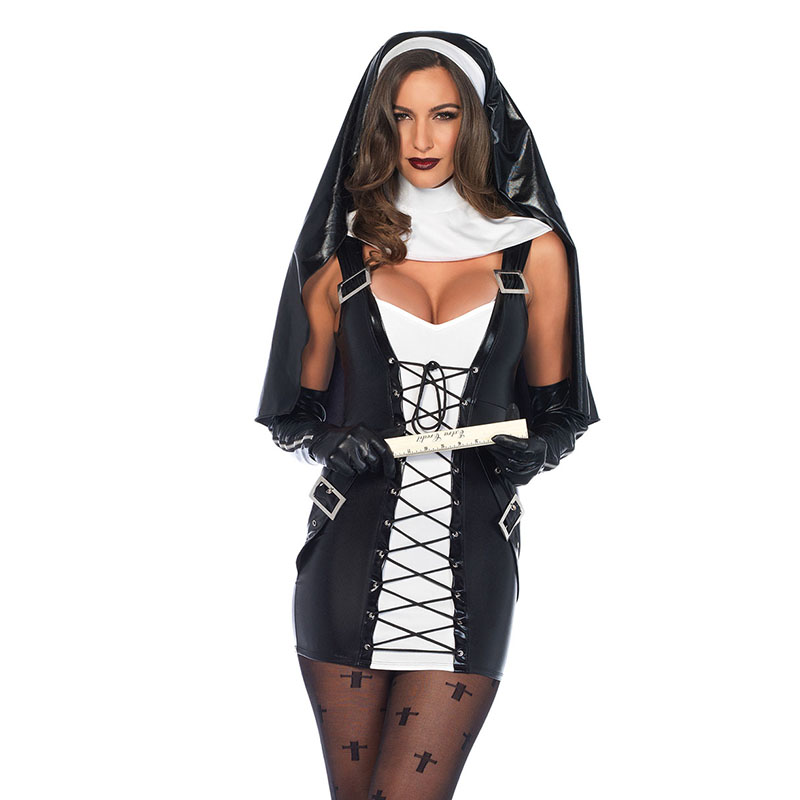 3 pieces womens naughty nun costume adult religion costumes sexy black cosplay faux leather fancy dress - Naughty Costumes For Halloween