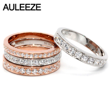 AULEEZE Real Natural Diamond Wedding Band 0.16ct/0.26ct/0.36ct/0.5ct Diamond 18K White Rose Gold Anniversary Rings For Women