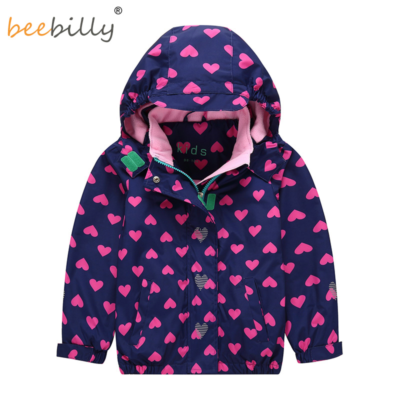 купить 2018 Girls Jacket Printed Hooded Polar Fleece Windbreaker Baby Girl Coat Autumn Winter for Kids Long sleeve Outerwear Clothes по цене 1312.35 рублей