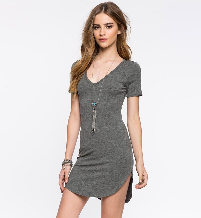 a8b62d9bfd4 Stylish Women Dress 2016 New Short Sleeve Vest Dresses Plus Size Gray V  Neck Sexy Dress Vintage Office Bodycon Dress