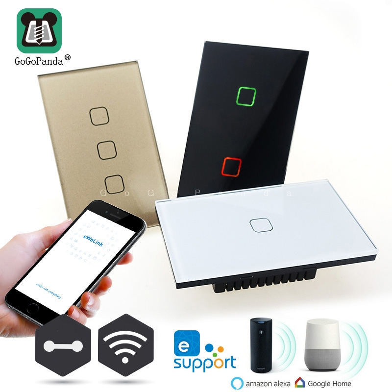 US Wifi App Remote Control Type Wall Light Controller Smart Home Automation Touch Switch Waterproof Fireproof