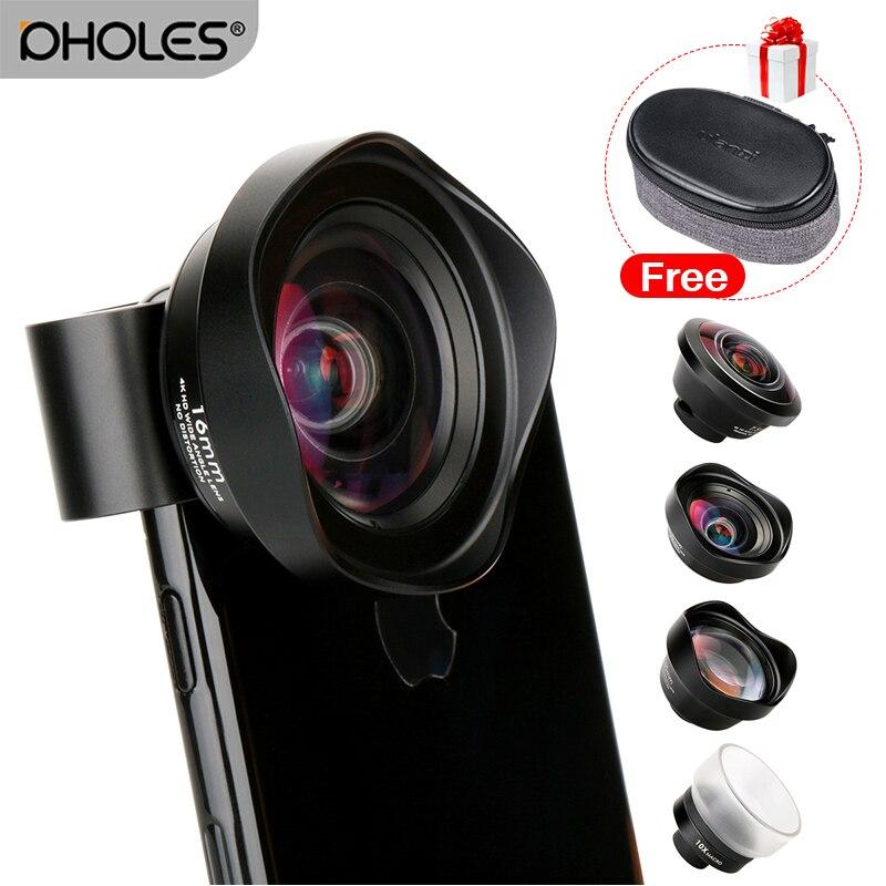 4 em 1 Câmera de Telefone Celular Kit de Lente Grande Angular lente Macro Telefoto Lentes Olho de peixe para iPhone Xs Max X huawei P20 8 Pro Samsung