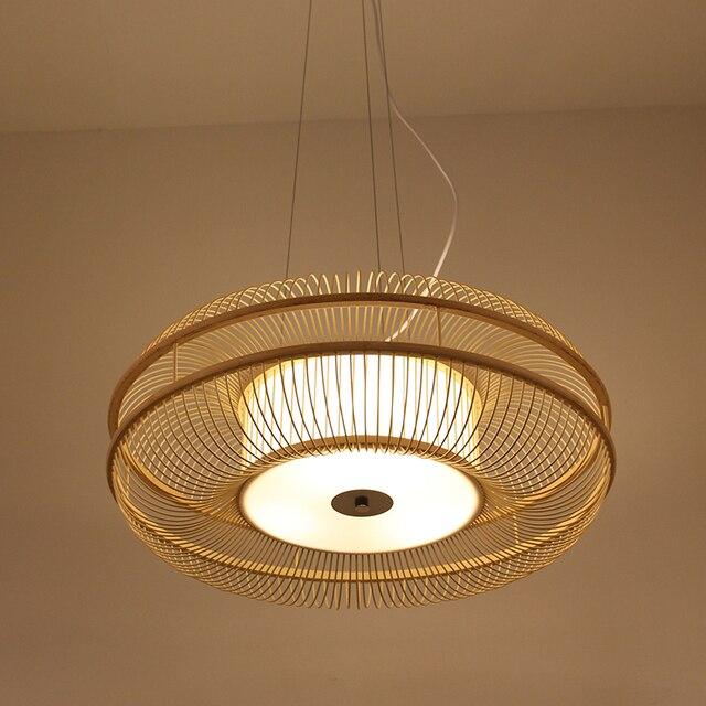 Handmade Weaving Classic China Japanest Pendant Lamp Bamboo Lighting Fixtures Industrial Decor Hanglamp For Tea