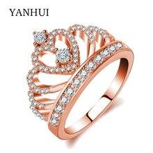 Яньхуэй ювелирные изделия кольцо стерлингового серебра 925 Rose Gold Filled CZ Циркон Корона кольца обручальное кольцо для женщин KYRA041