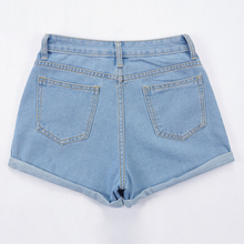 Europe Blue Crimping Denim Shorts For Women 2018 Summer New Brand Trendy Slim Casual Plus Size Womens High Waist Shorts