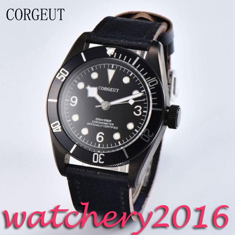 Luxury Corgeut 41mm black dial luminous markers Luxury Brand sapphire glass PVD case automatic movement Men's Watch 41mm corgeut black dial sapphire glass miyota automatic movement mens watch c03