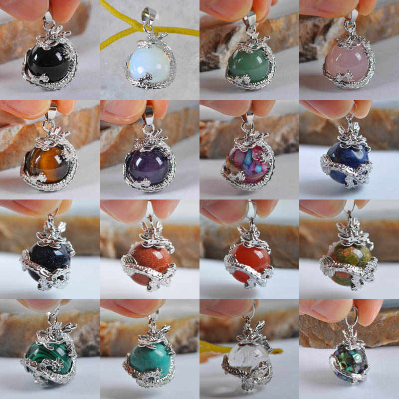 1Pcs Necklace Pendant Black Onyx Opal Rose Crystal Tigereye Purple Crystal Natural Stone Round Bead Dragon