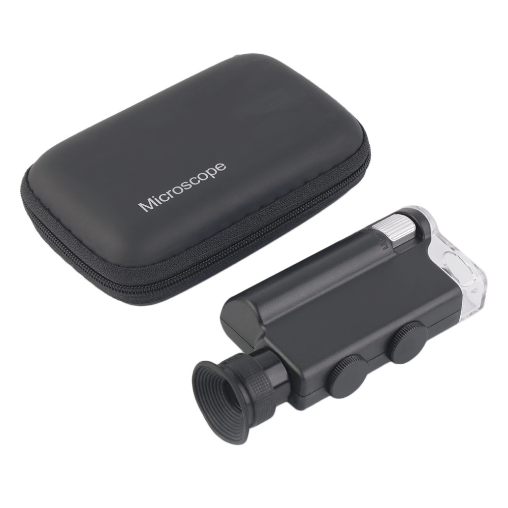 Mini Microscópio de Bolso portátil 200X ~ 240X Handheld LED Lâmpada Luz Zoom Lupa Lente Lupa Lupa Lupa de Bolso