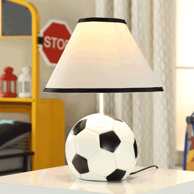 Us 126 04 8 Off Aliexpress Com Buy Modern Football Resin Table Lamps Cloth Lampshade Resin Base Art Deco Table Light For Bedroom Bedside Cartoon