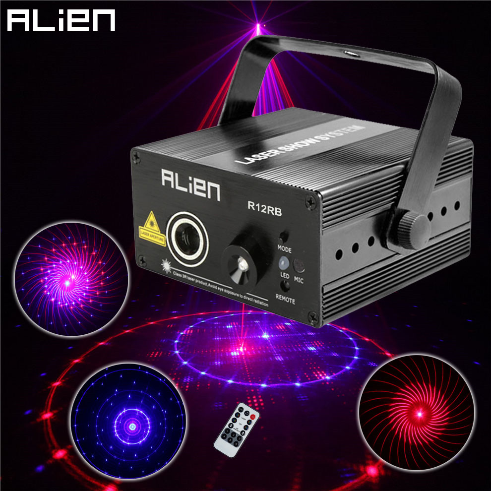 ALIEN 12 Patterns Red Blue Wedding Stage Lighting Effect 300mW DJ Disco Laser Light Projector Party Christmas Holiday Show Light alien 300mw rgb stage lighting effect dj disco party home wedding laser projector light xmas remote laser system show lights