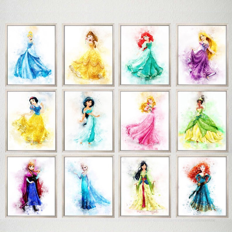 Watercolor Princess Cartoon Posters And Prints Wall Pictures Anna Elsa Princess Art Canvas Painting Baby Girls Room Wall Decor