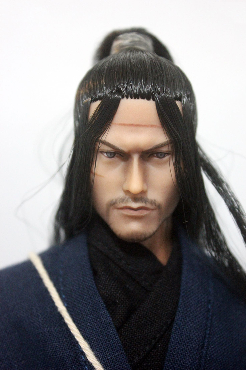 1/6 Scale Japanese Ninja Miyamoto Musashi Head Sculpt Battle Version for 12'' Action Figures Bodies 1 6 scale leonardo dicaprio head sculpt closed eyes version for 12 male bodies figures