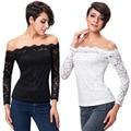 New Fashion 2016 Lace T Shirt Women Slash Neck T-Shirt Tops Camisetas Mujer Long Sleeve White Black Casual Tee Shirt Femme