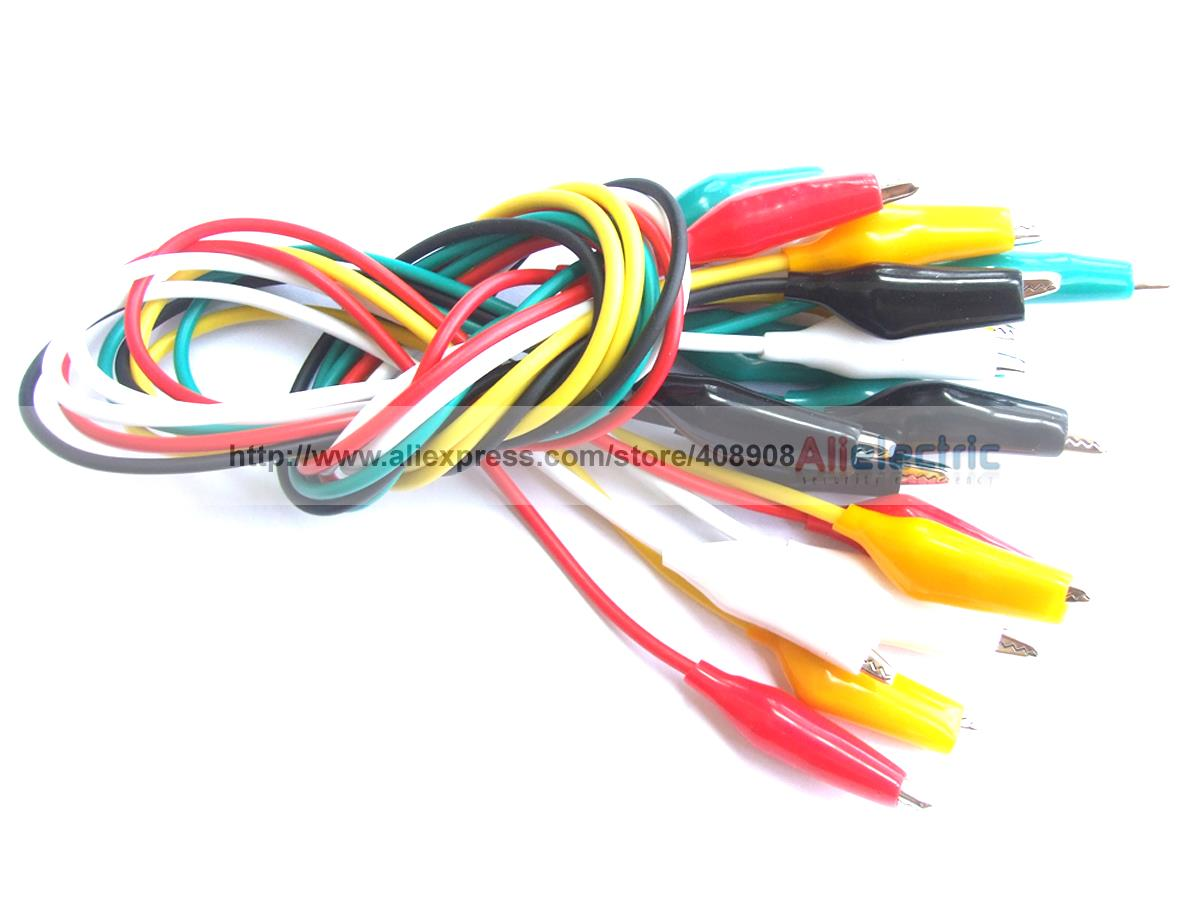 ФОТО 100pcs 5 Color Test Alligator Clip to Alligator Clips Test Probes Cables 50cm