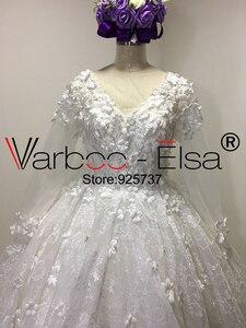 Image 5 - Vestido de baile VARBOO_ELSA, vestido de novia árabe 3D de lujo con apliques y cuentas de encaje de diamante, vestido de novia blanco 2018, vestidos de boda
