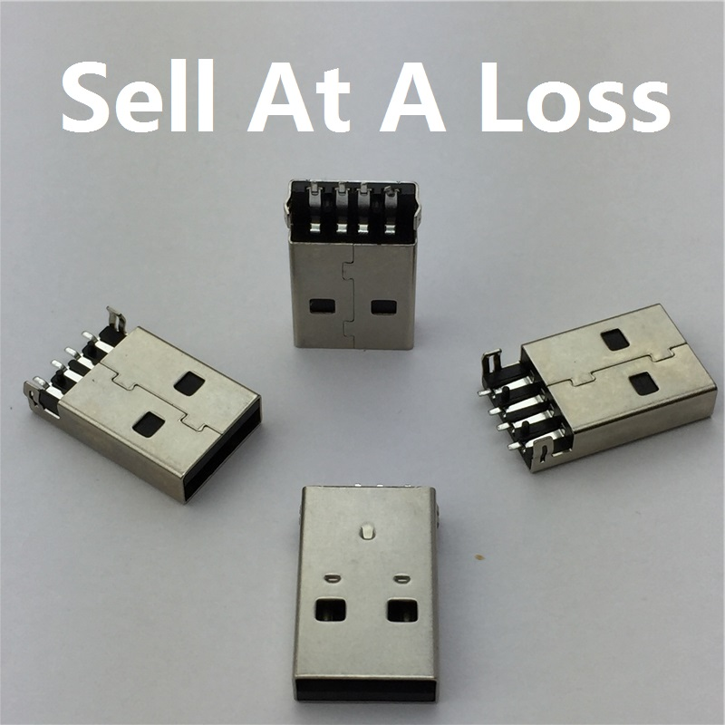 10pcs/lot USB 2.0 4Pin A Type Male Plug SMT Connector Black G49 for Data Transmission Charging Free Shipping beibehang wallpaper non woven home