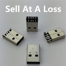 10pcs lot font b USB b font 2 0 4Pin A Type Male Plug SMT Connector