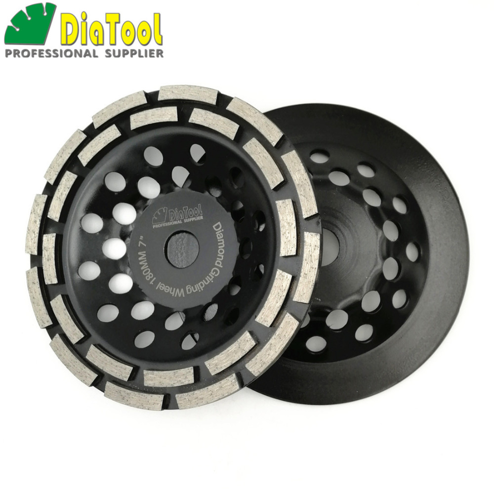 DIATOOL 2pcs 7 Inch Diamond Double Row Grinding Cup Wheel 180MM Grinding Disc Disk Arbor 22.23mm Concrete Masonry Granite Marble 2pcs dia 125mmx10mm vacuum brazed diamond grinding wheel dia 5 beveling wheel flat for marble granite artificial concrete stone
