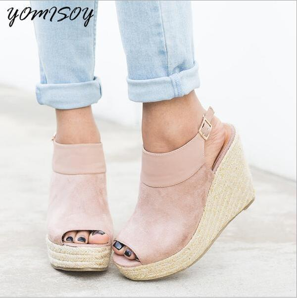 Mature Women Summer Open Toe Shoes Buckle Covered Platform Women Sandals Solid Wedges Shoes-In -2057