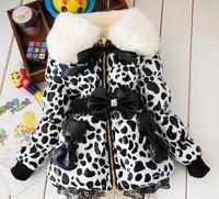 2017 Fashion Leopard Baby Winter Parkas Children Outerwear Coat Kids Girls Faux Fur Fleece Party Coat