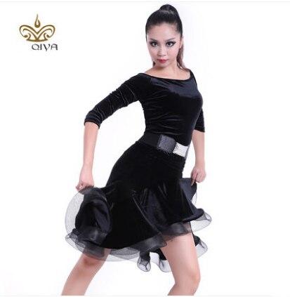 Latino plesna obleka seksi črna žametna latino dekleta obrobna bal - Umetnost, obrt in šivanje - Fotografija 4