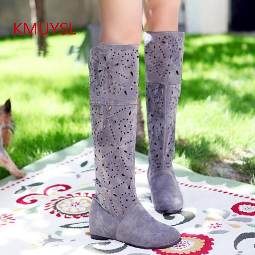 2017 Cut Out Spring and Summer Cool High-leg Boots Net Cow Muscle Outsole Knitted Boots Plus size 34-43