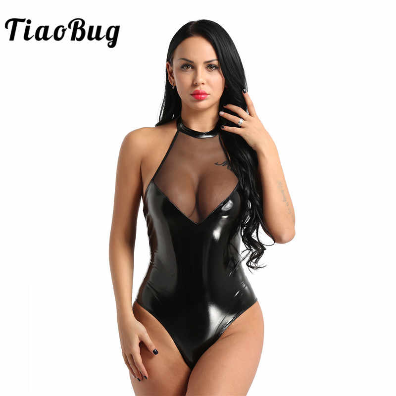TiaoBug Women One-piece Wetlook Faux Leather Mesh Patchwork Sexy Bodysuit Lady Halter High Cut Nightclub Party Teddies Jumpsuit