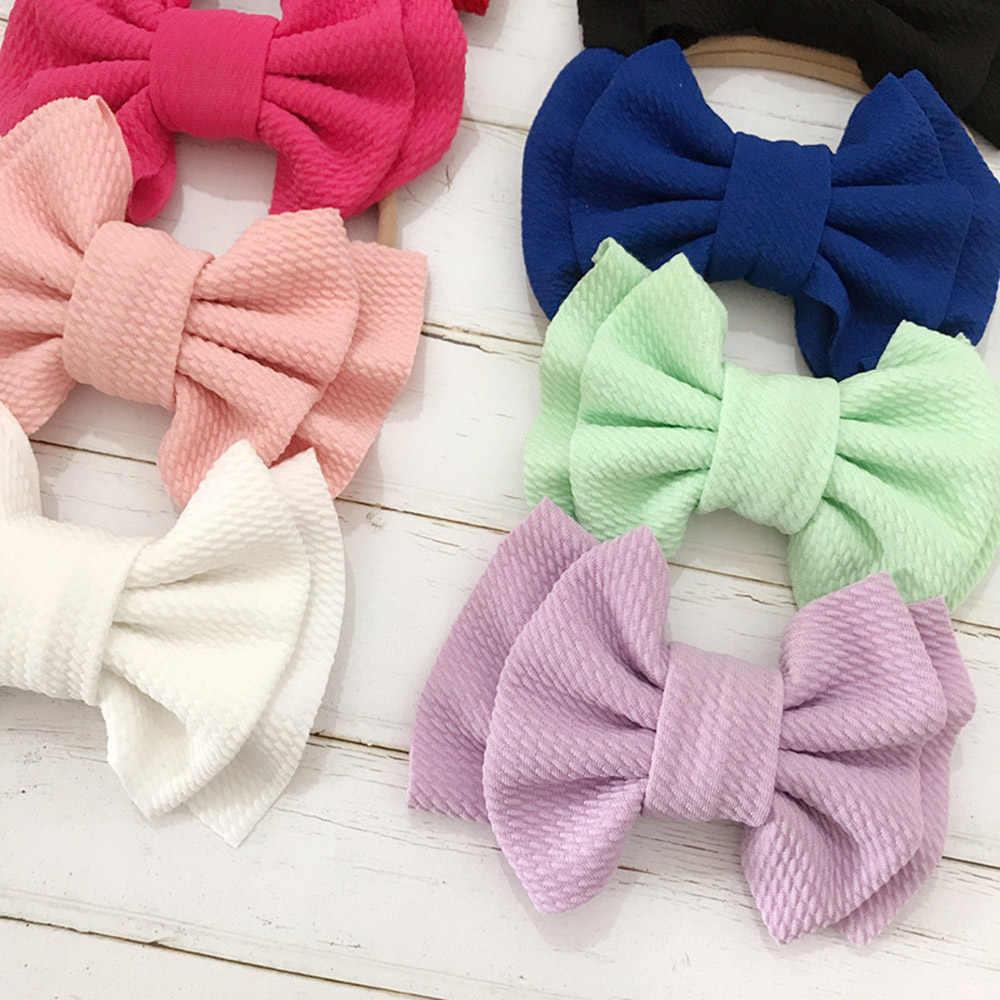 9 สีน่ารักใหญ่โบว์ Headbands DIY Double deck Bowknot ไนลอนสำหรับเด็กทารกหัวห่อผมอุปกรณ์เสริม