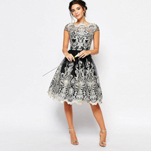 Sexy Hollow Out Lace Dress Female Casual Short Sleeve Ball Gown Party Dresses vestidos