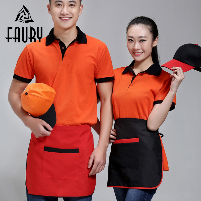 Unisex One-Size Home Kitchen Cooking Chef Aprons Cafe Restaurant Waiter Beauty Shop Work Wear Short Aprons With Big Pocket