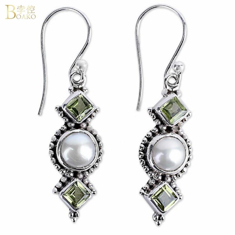 BOAKO Thai Silver Drop Earrings Bohemian Style Pendientes Round Pearl Dangle Earrings For Women Ethnic Jewelry Wedding Earrings in Drop Earrings from Jewelry Accessories