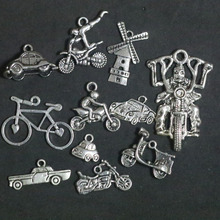 Mixed Motorcycle Racing Bicycle Pendant Charms For Jewelry Making DIY Handmade Fashion Jewelry Accessories Vintage Antique Silve