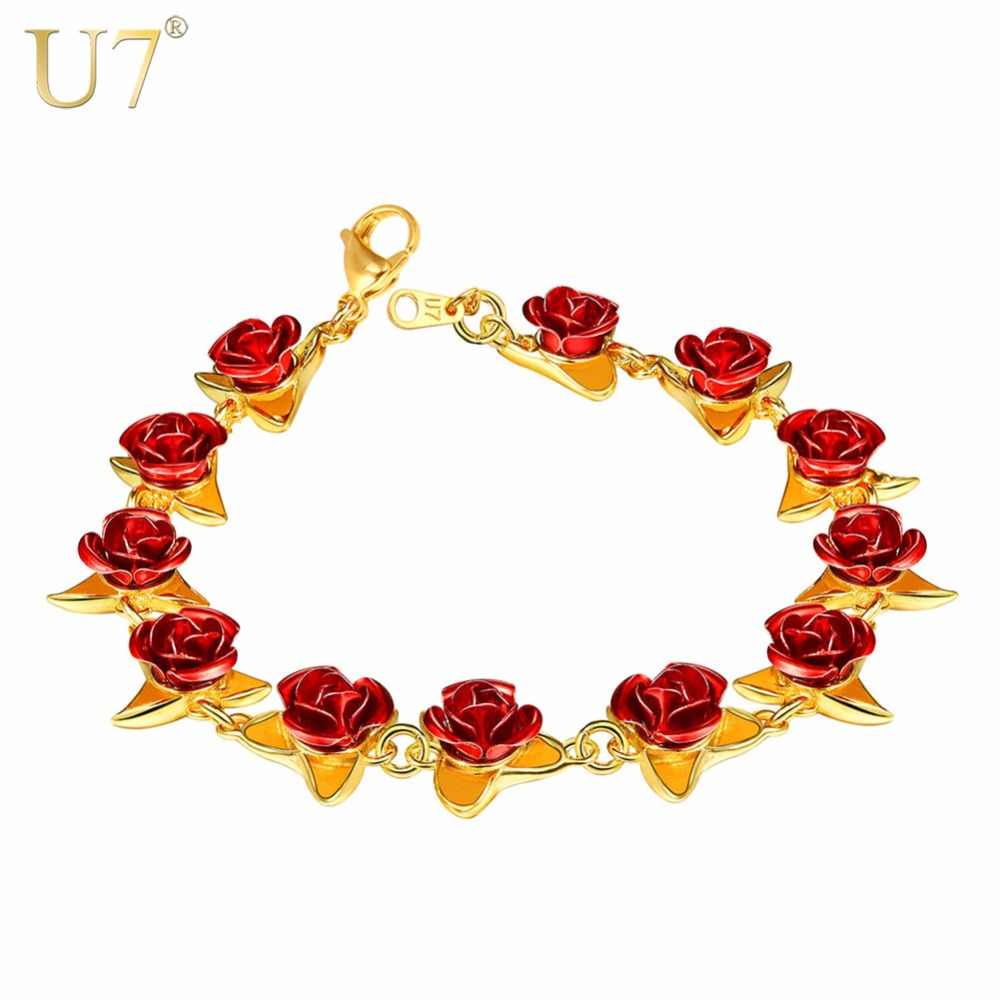 U7 Red Rose Flowers Bracelet Femme Wrist Charm Chain Gold Color Fashion Jewelry Bracelets for Women Mother's Day Gifts H1047