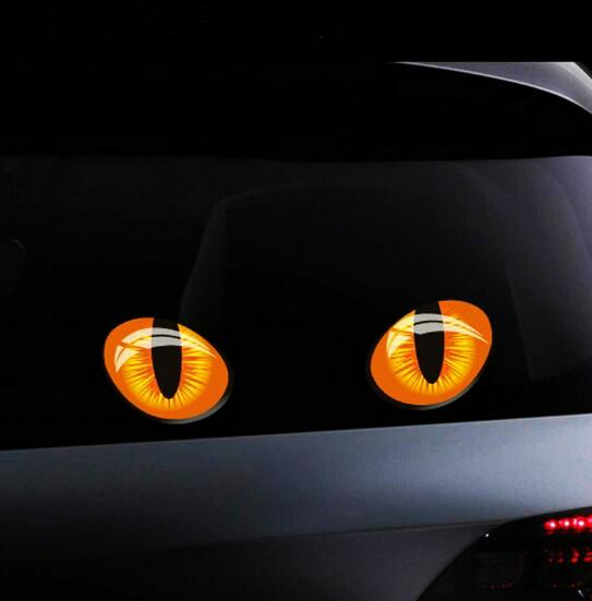 Cute Simulation Cat Eyes Car <font><b>Stickers</b></font> 3D Vinyl Decal for Rearview Mirror Car Head Engine Cover <font><b>Windows</b></font> Decoration image