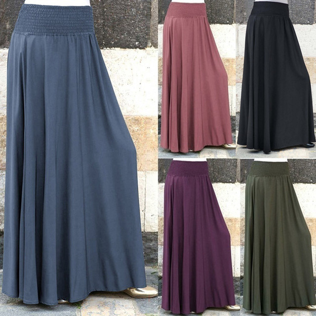 9d7e2b57a8 US $8.99 37% OFF|Women Fashion Elastic Waist Solid Pleated Skirt Vintage A  line Loose Long Skirts Promotions Lady Evening Party Casual Skirts-in ...