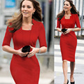 2016 Vintage Women Summer Stand Collar Celebrity Kate Middleton Dress Business Party Office Kleider Ceremony Half Sleeve Vestido
