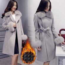 Elegante de moda largo abrigo de lana Cuello de piel desmontable lana Blend  Coat y chaqueta 60734cfd96ea