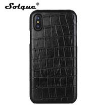 Solque Real Leather Case For iPhone X XS MAX XR Genuine Leather Phone Cases for iPhone 7 8 Plus Luxury Crocodile Thin Slim Cover