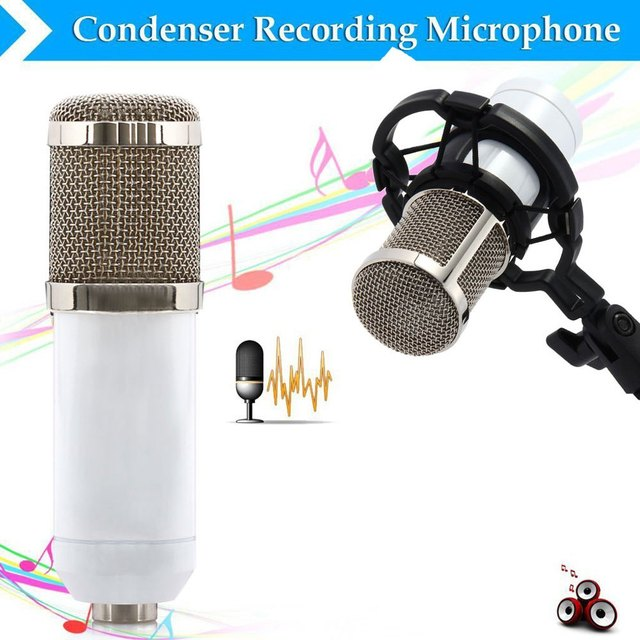 BM-800 White Condenser Microphone Sound Recording Microfone With Shock Mount Radio Braodcasting Microphone For Desktop Computer