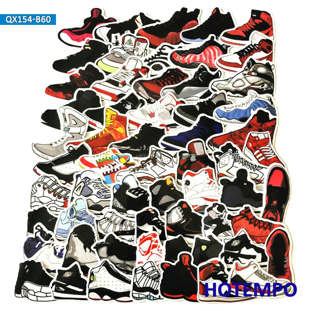 60pcs Retro Jordan Sneaker Tide Shoes Vintage Stickers For Mobile Phone Laptop Luggage Guitar Skateboard Bike Ski Car Stickers