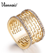 Viennois Geometric Silver/Gold Color Rings for Women Rhinestone Hollow Cocktail Party Rings Female Squarish Wide Rings newest viennois fashion jewelry gun color geometric finger rings for woman rhinestone and crystal party accessories