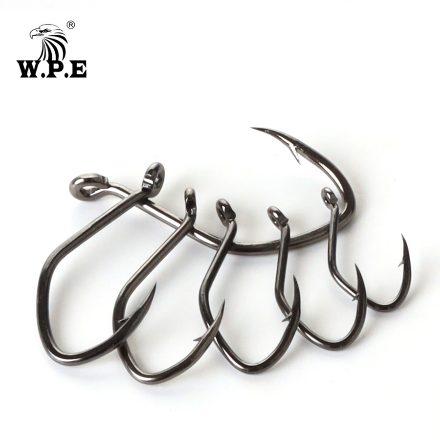 W.P.E Brand Catfish Hook 5-10pcs/pack High-Carbon Steel Fishing Hook 2#-12# Very Sharp Hook Barbed Catfish Hook Fishing Tackle