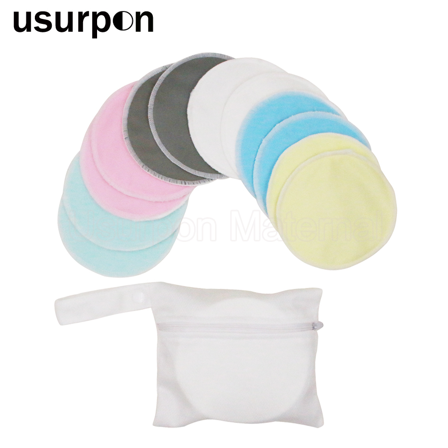 [usurpon]12 pcs breast pad mom nursing pad waterproof fabric and organic bamboo resuable feeding pad with 1 laundry bag bamboo forest printed waterproof fabric shower curtain