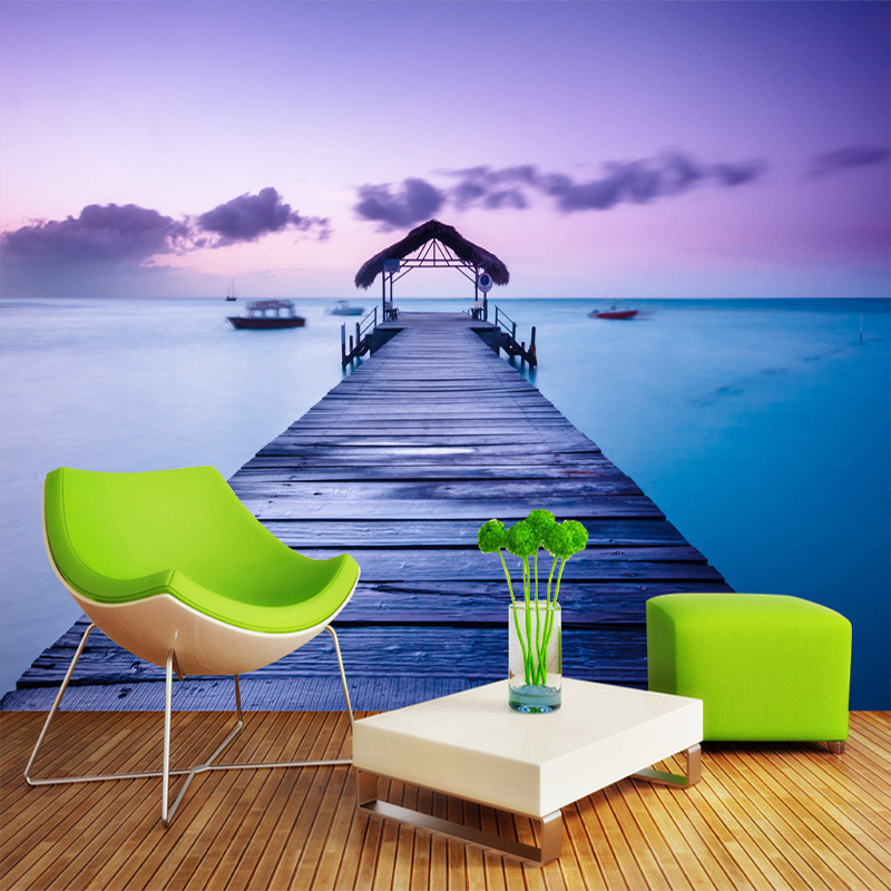 Romantic Beautiful Fresco Seaside Landscape Mural Wallpaper Living Room Bedroom Backdrop Decor Wall Painting Papel De Parede 3D