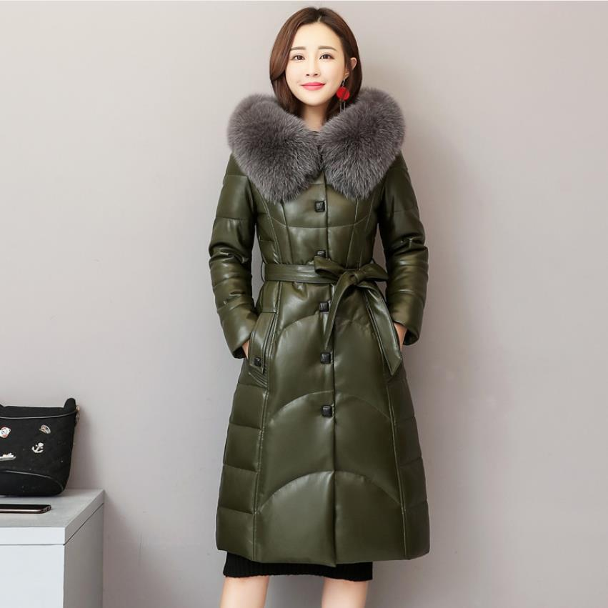 Winter fashion brand fox fur collar hooded 90% real duck   down     coat   female real leather oversize longer thicker   down   parkas wq765