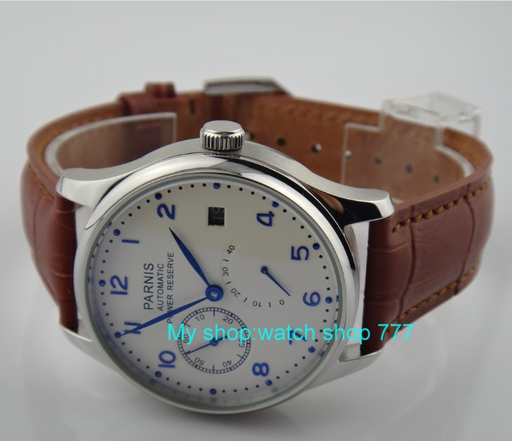 43 mm PARNIS white dial ST2530 Automatic Self-Wind movement men's watch power reserve Casual watch wholesale rnm3a hot sale 46mm parnis black dial power reserve white marks automatic men wrist watch